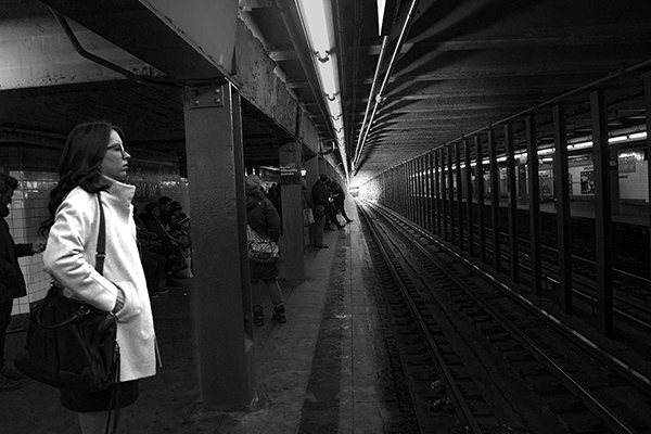 B W  levels Light end Woman on subway platDSC_8420 copy copy.jpg